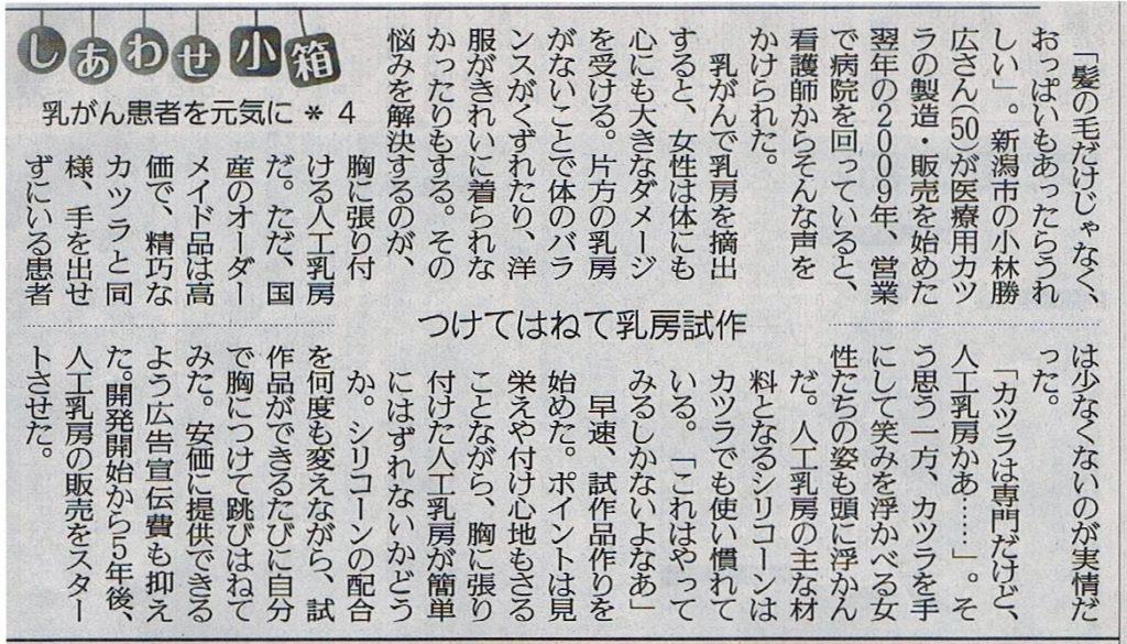 30年10月4日読売新聞夕刊で人工乳房が紹介されました
