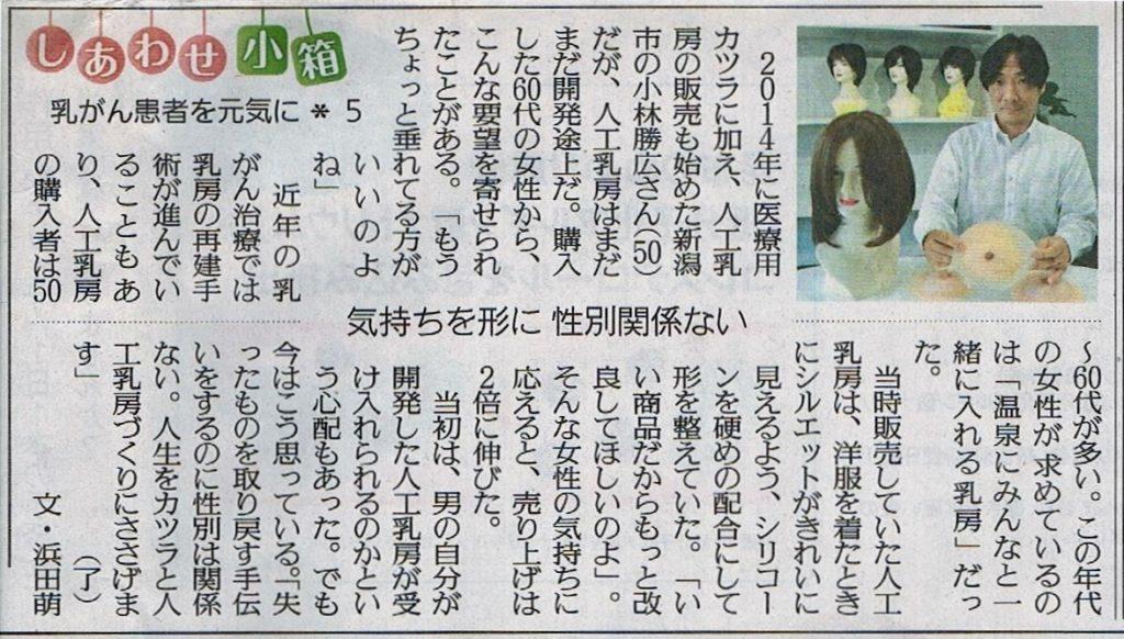 30年10月5日読売新聞夕刊で人工乳房が紹介されました